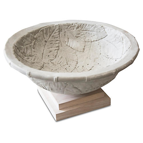 "15"" Pacifica Footed Bowl, Gray/Natural"