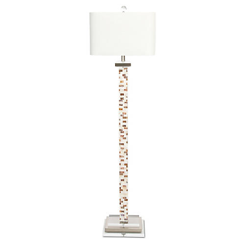 Soho Mother-of-Pearl Floor Lamp, Ivory