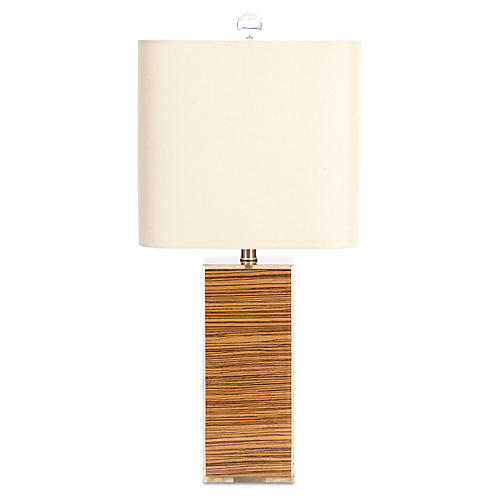Alta Table Lamp, Zebra Veneer