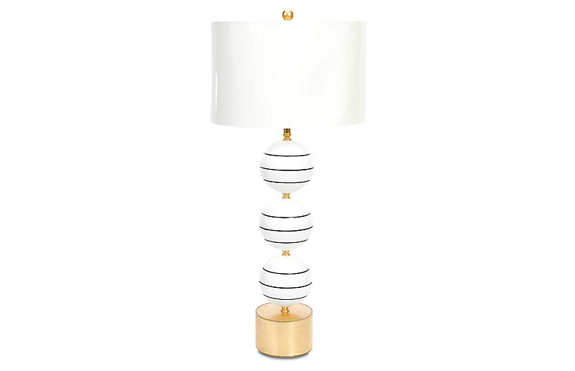 Corona Del Mar Table Lamp, Glossy White