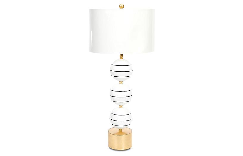 Corona Del Mar Table Lamp, Glossy White