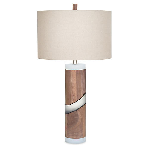 Doheny Walnut Table Lamp, Natural/Frosted