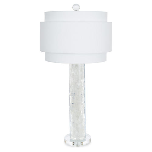 Montrose Table Lamp, Clear/White