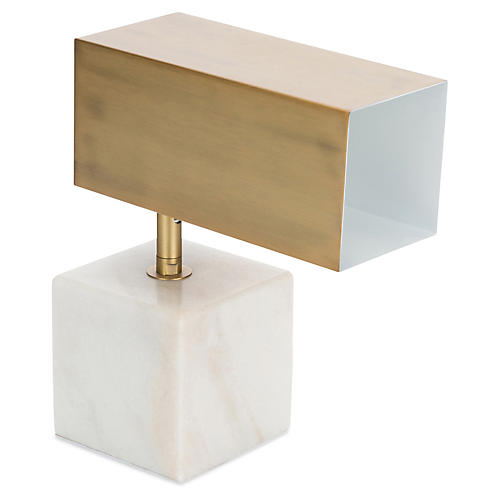 Hermosa Mini Table Lamp, White/Brass