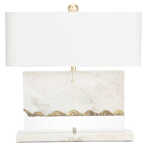 Brentwood Marble Table Lamp, White