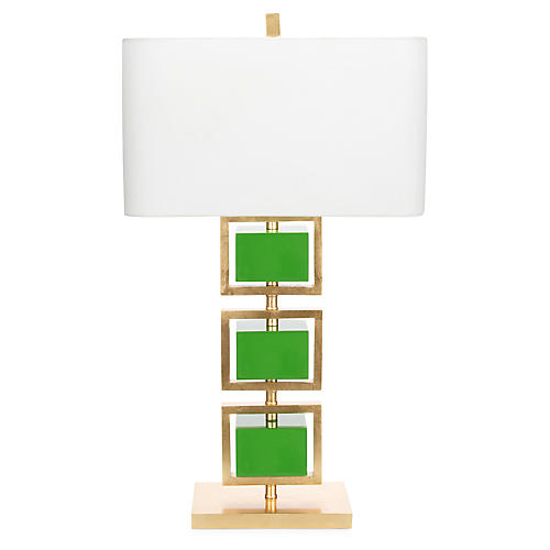 Coventry Table Lamp, Kelly Green/Gold