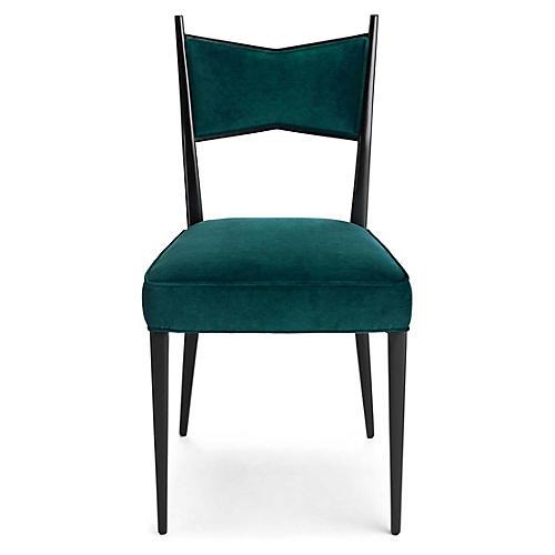 Georgia Side Chair, Peacock Velvet