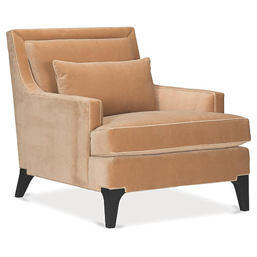 Norwich Accent Chair, Almond Velvet