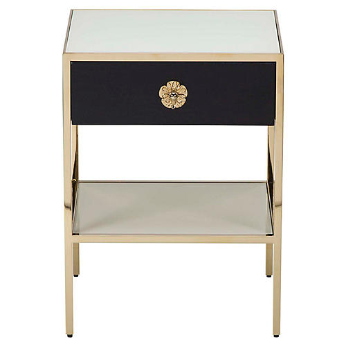 Keaton Nightstand, Cream/Black