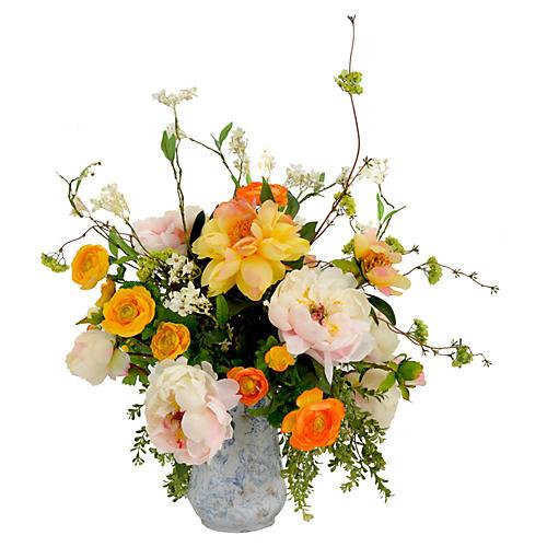 Peony & Ranunculus Faux Garden Bouquet