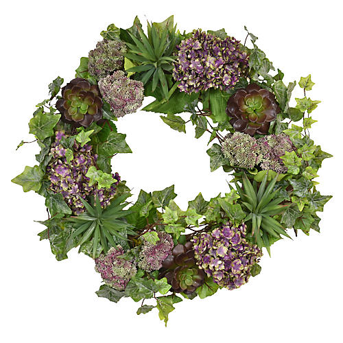 "22"" Hydrangea Faux Wreath, Purple"
