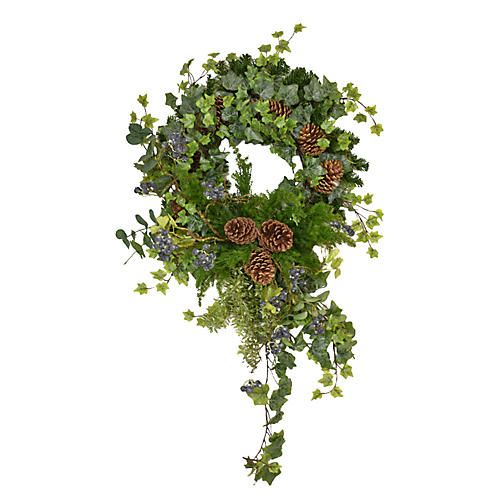 "40"" Ivy Fern Wreath, Faux"