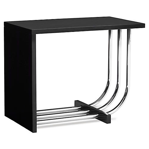 Tubular Steel Bauhaus Side Table, Piano Black