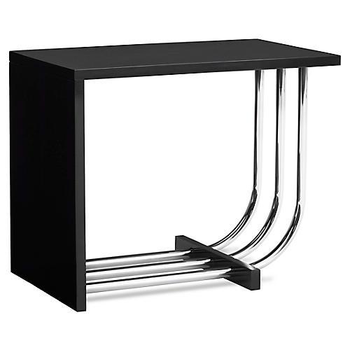 Tubular Steel Bauhaus Side Table, Piano Black