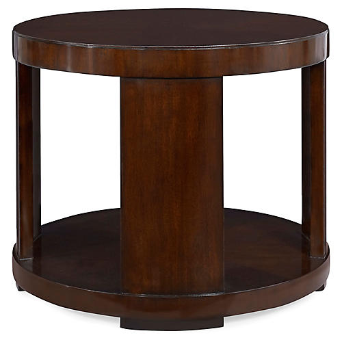 Modern Drum Side Table, Chairman Mahogany
