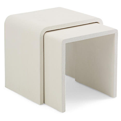 Asst. of 2 One-Fifth Waterfall Side Tables, Cream