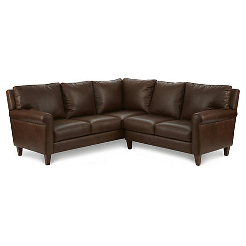 Urban Loft Leather Sectional, Dark Brown