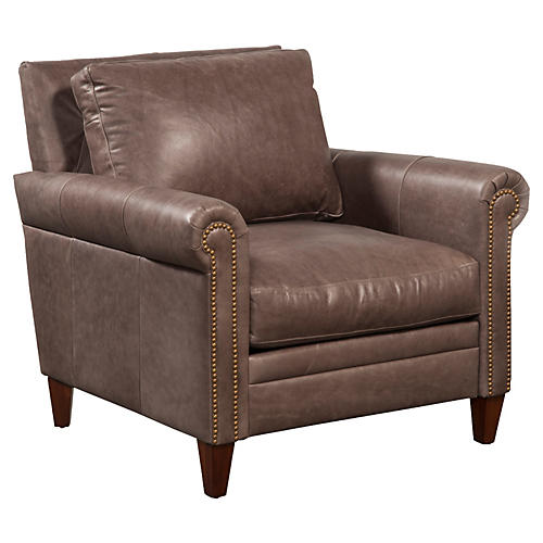 Walter Leather Chair, Stone