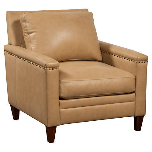 Sebastian Leather Chair, Parchment