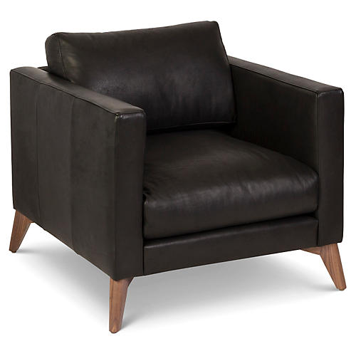 Hollywood Club Chair, Black Leather