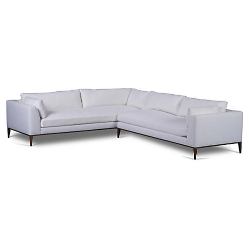 Lucca Sectional, White Linen
