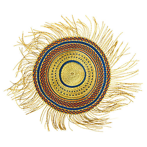 Fringed Wall Decor, Orange/Blue