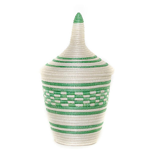 "9"" Cathedral Basket, Peppermint"