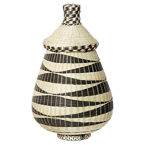 "8"" Huye Basin Basket, Black/Natural"