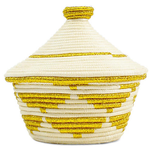 """5"""" Cathedral Small Basket, White/Gold"""
