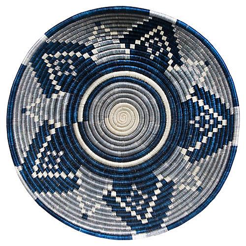 "16"" Intore Jumbo Basket, Silver/Blue"