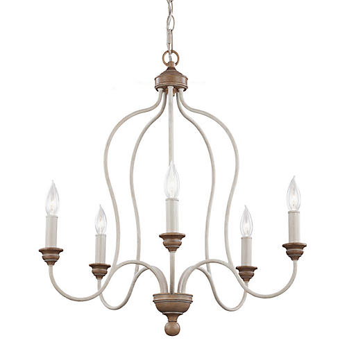 Greer 5-Light Chandelier, Chalk Washed