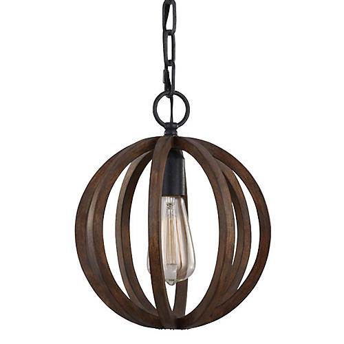 Allier 1-Light Pendant, Weathered Oak