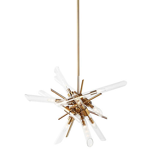 Quorra 14-Light Chandelier, Brass/Clear