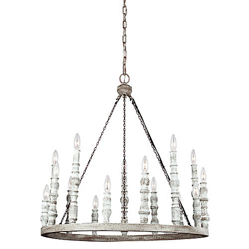 Norridge 15-Light Chandelier, White/Iron