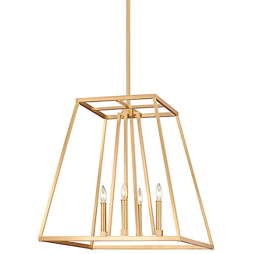 Conant Tall Pendant, Satin Brass