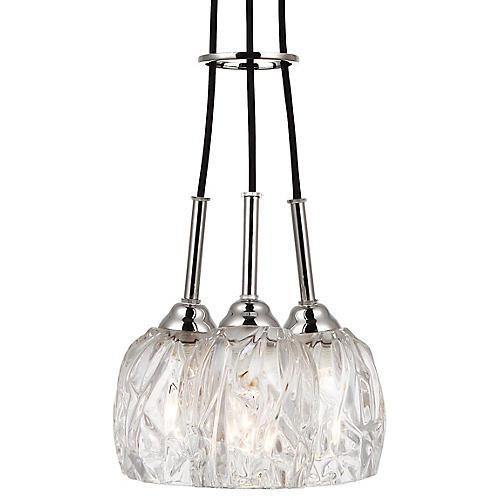 Rubin 3-Light Pendant, Clear/Nickel