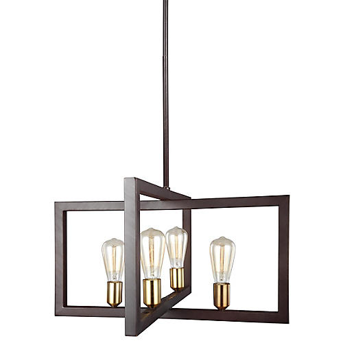 Finnegan Small Chandelier, New World Bronze