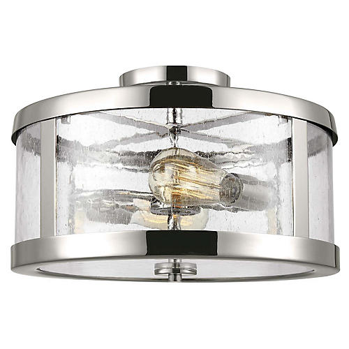 Harrow 2-Light Semi-Flush Mount, Polished Nickel