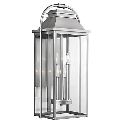 Wellsworth Outdoor Lantern Sconce, Brushed Steel