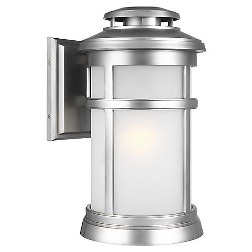 Newport Large Outdoor Sconce, Brushed Steel