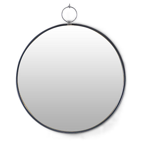Iron Round Wall Mirror, Black