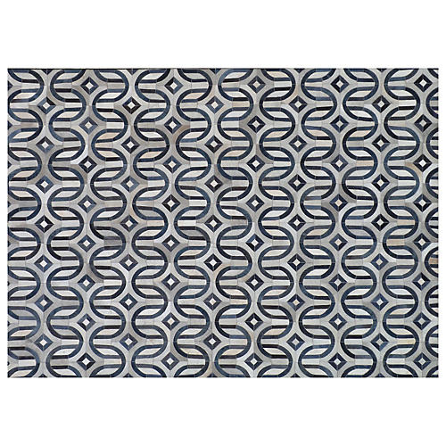 Flushing Hide Rug, Gray/Navy