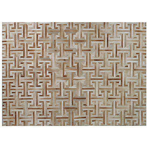 Edith Hide Rug, Ivory/Tan
