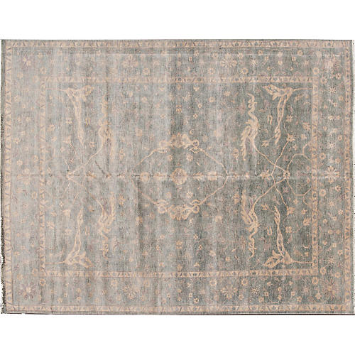 "9'2""x12' Oushak Hand-Knotted Rug, Gray"