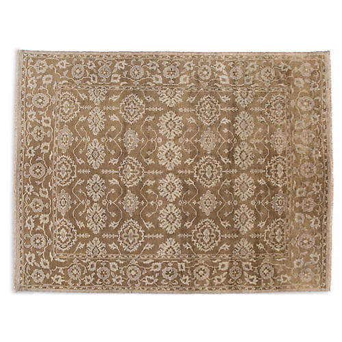 "8'10""x12' Oushak Hand-Knotted Rug, Brown"