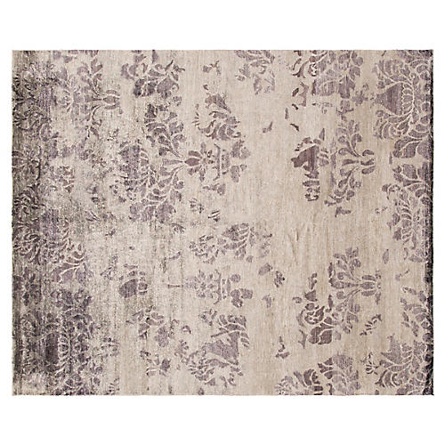 """8'1""""x9'10"""" Modern Hand-Knotted Rug, Gray"""