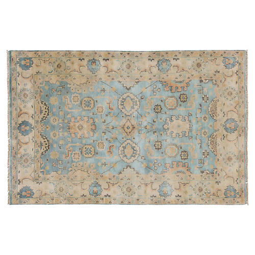 "5'6""x8'8"" Oushak Hand-Knotted Rug, Blue/Multi"