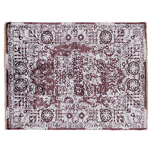 "5'x6'7"" Modern Hand-Knotted Rug, Purple"
