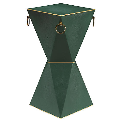 Mimosa Faux-Shagreen Side Table, Emerald City