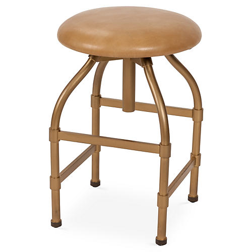 Clyde Adjustable Stool, Tan Leather